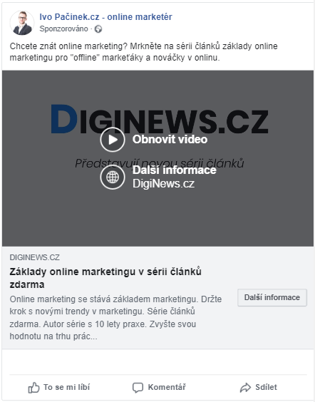 Video reklama online na síti facebook Facebooku